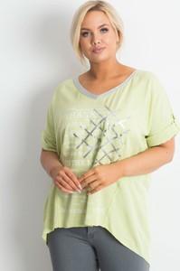 Zielony t-shirt Sheandher.pl z okrągłym dekoltem