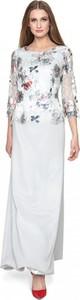 Sukienka POTIS & VERSO z okrągłym dekoltem z długim rękawem z satyny