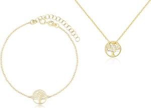 Irbis.style komplet srebrnej pozłacanej biżuterii - bransoletka i naszyjnik