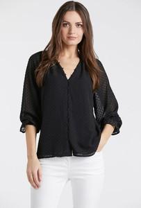 Czarna bluzka Monnari z dekoltem w kształcie litery v z długim rękawem