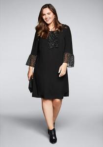 Czarna sukienka Sheego z okrągłym dekoltem mini