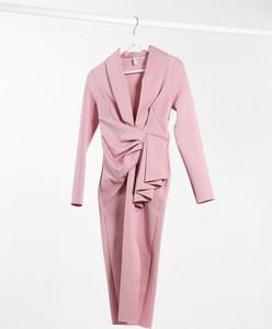 Różowa sukienka River Island midi bandażowa
