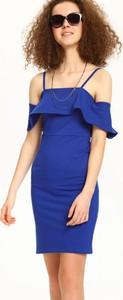 Niebieska sukienka Troll z krótkim rękawem mini
