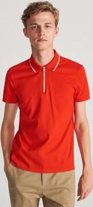 Czerwona koszulka polo Reserved z krótkim rękawem