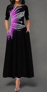 Czarna sukienka Sandbella z okrągłym dekoltem z krótkim rękawem maxi