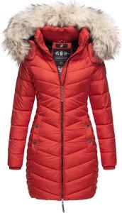 Czerwony płaszcz Navahoo w stylu casual z plaru
