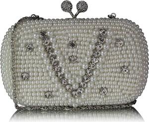 Srebrna torebka Wielka Brytania mała w stylu glamour z aplikacjami