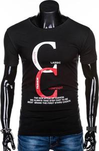 Czarny t-shirt Edoti z krótkim rękawem z nadrukiem