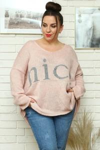 Różowy sweter KARKO z dzianiny w stylu casual