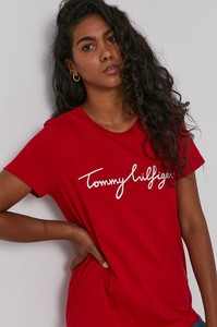 Czerwony t-shirt Tommy Hilfiger z dzianiny z krótkim rękawem
