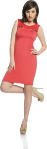 Czerwona sukienka Fokus w stylu casual bez rękawów mini