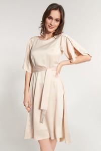 Sukienka QUIOSQUE w stylu casual z okrągłym dekoltem rozkloszowana