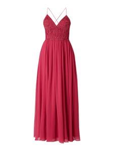 Różowa sukienka Laona z dekoltem w kształcie litery v maxi z tiulu