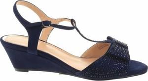Granatowe sandały Jd Williams ze skóry w stylu casual