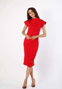 Czerwona sukienka Nommo z krótkim rękawem