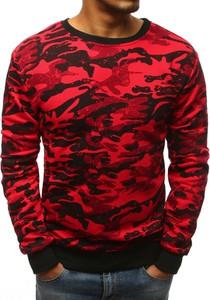 Czerwona bluza Dstreet w militarnym stylu z bawełny