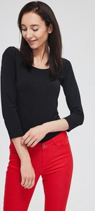 Czarna bluzka Diverse z długim rękawem z okrągłym dekoltem