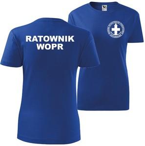 Niebieski t-shirt TopKoszulki.pl z krótkim rękawem w sportowym stylu z bawełny