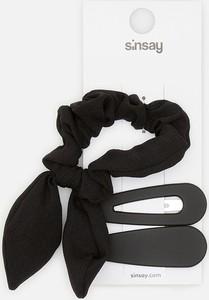 Sinsay - Spinki i gumka do włosów - Czarny