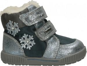 Czarne buty dziecięce zimowe Primigi ze skóry na rzepy