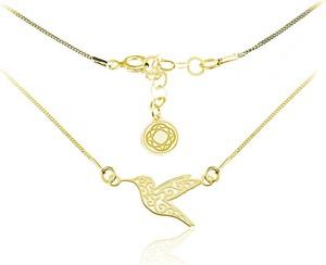 Lian Art Srebrny naszyjnik koliber - 24k złocenie