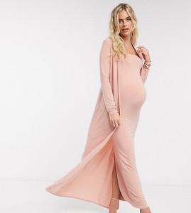 Club L Maternity Club L London Maternity – Różowy obcisły żakiet o długości maxi, część kompletu