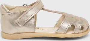 Złote buty dziecięce letnie Mrugała na rzepy ze skóry
