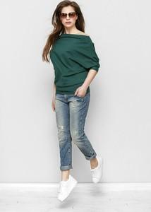 Zielona bluzka Freeshion z okrągłym dekoltem z długim rękawem z bawełny