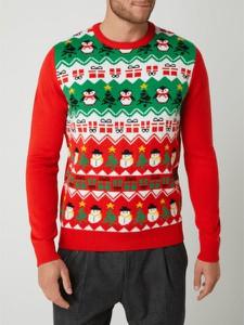 Czerwony sweter Montego w młodzieżowym stylu w bożonarodzeniowy wzór z okrągłym dekoltem