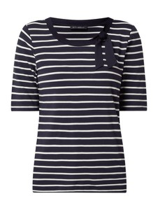 Granatowa bluzka Betty Barclay w stylu casual z krótkim rękawem z okrągłym dekoltem