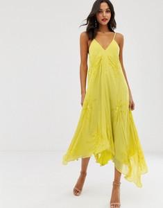 Żółta sukienka Asos oversize z dekoltem w kształcie litery v