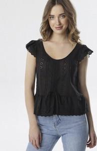 Czarna bluzka born2be z krótkim rękawem z okrągłym dekoltem