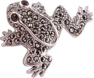 Braccatta PIXI Srebrna broszka z markazytami, żabka
