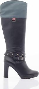 Kozaki Pepe Jeans ze skóry przed kolano na zamek
