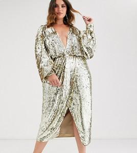 Złota sukienka Asos Edition z dekoltem w kształcie litery v