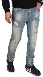 Niebieskie jeansy Glo-Story w street stylu z bawełny