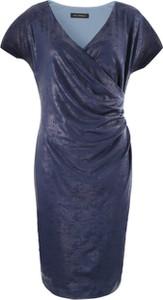 Niebieska sukienka Vitovergelis z krótkim rękawem kopertowa
