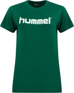 Zielony t-shirt Hummel z tkaniny z okrągłym dekoltem