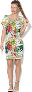 Sukienka COLOUR PLEASURE z okrągłym dekoltem midi w stylu casual