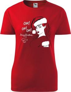 Czerwony t-shirt TopKoszulki.pl z krótkim rękawem z okrągłym dekoltem