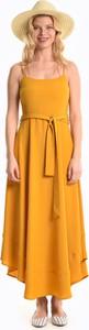 Żółta sukienka Gate maxi na ramiączkach asymetryczna