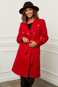 Czerwony płaszcz Le Comptoir Du Manteau z wełny