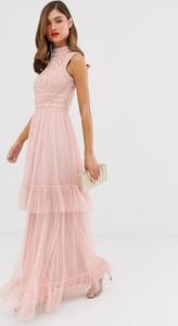 Różowa sukienka Frock And Frill z tiulu maxi