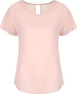Różowa bluzka Nife z krótkim rękawem z okrągłym dekoltem