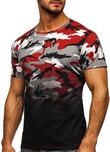 T-shirt Denley w militarnym stylu z krótkim rękawem w bożonarodzeniowy wzór