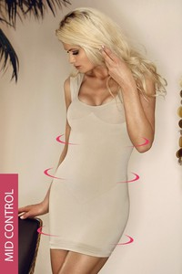Hanna Style Mid-Wyszczplająca sukienka-szerokie ramiączka-6 720-MicroClima beżowy