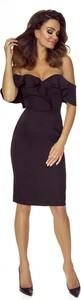 Sukienka Bergamo mini dopasowana z krótkim rękawem
