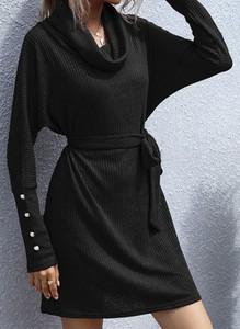 Czarna sukienka Cikelly mini w stylu casual ołówkowa