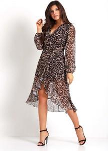 Sukienka Ivon z długim rękawem midi w stylu casual