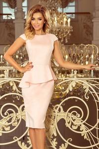 Różowa sukienka NUMOCO z zamszu z krótkim rękawem midi